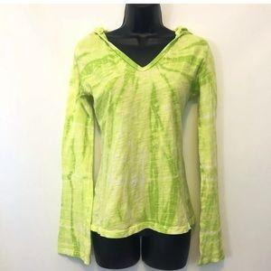 Prana S Green Yellow Pullover Hooded Shirt tie dye